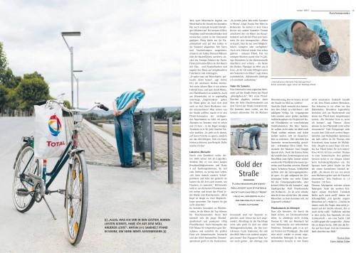 """Artikel """"Gold der Straße"""" über Flaschensammlerfür Sensor Magazin Mainz"""