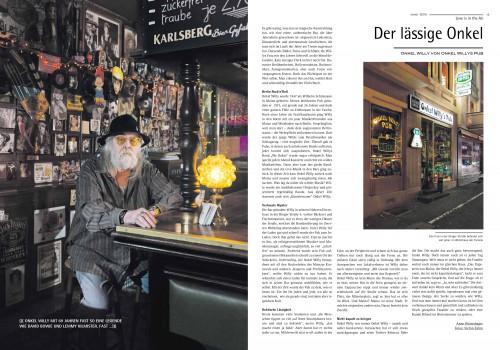 """Artikel """"Der lässige Onkel"""" über Onkel Willy's Pub Mainz im Sensor-Magazin Januar 2013"""