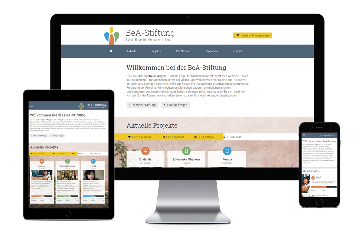 Responsive Webseite Bea-Stiftung